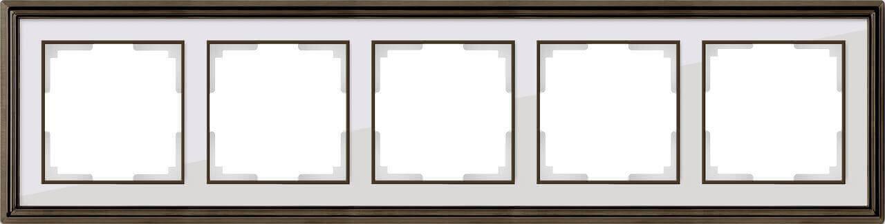 Рамка Werkel Palacio на 5 постов бронза/белый WL17-Frame-05 4690389103759