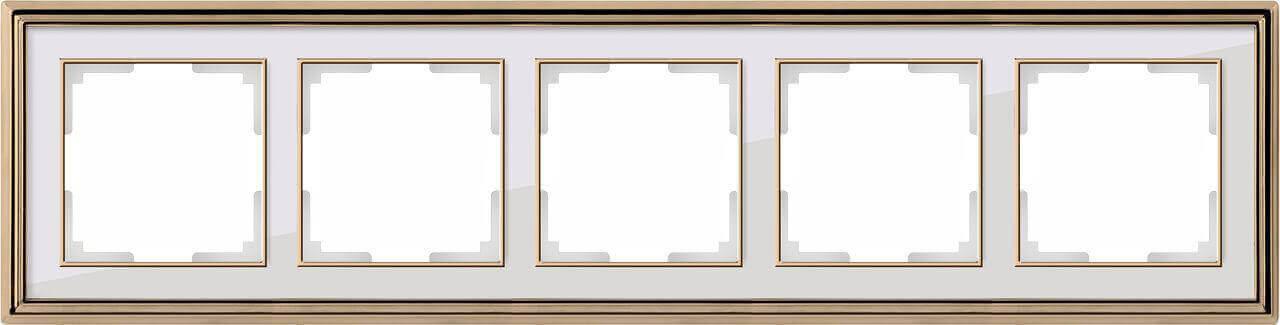 Рамка Werkel Palacio на 5 постов золото/белый WL17-Frame-05 4690389103773