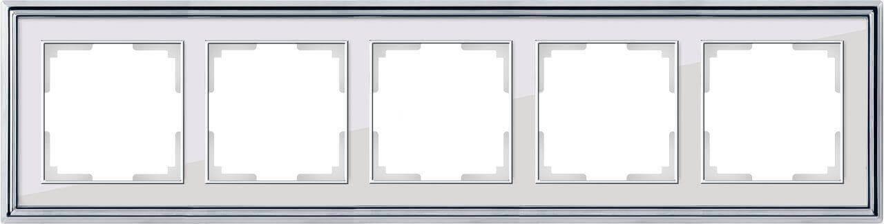 Рамка Werkel Palacio на 5 постов хром/белый WL17-Frame-05 4690389108136