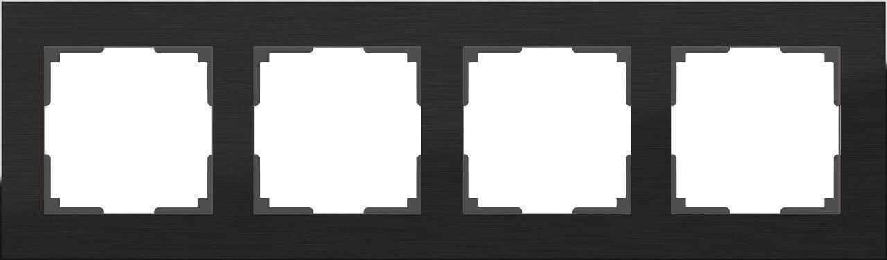 Рамка Werkel Aluminium на 4 поста алюминий черный WL11-Frame-04 4690389110474