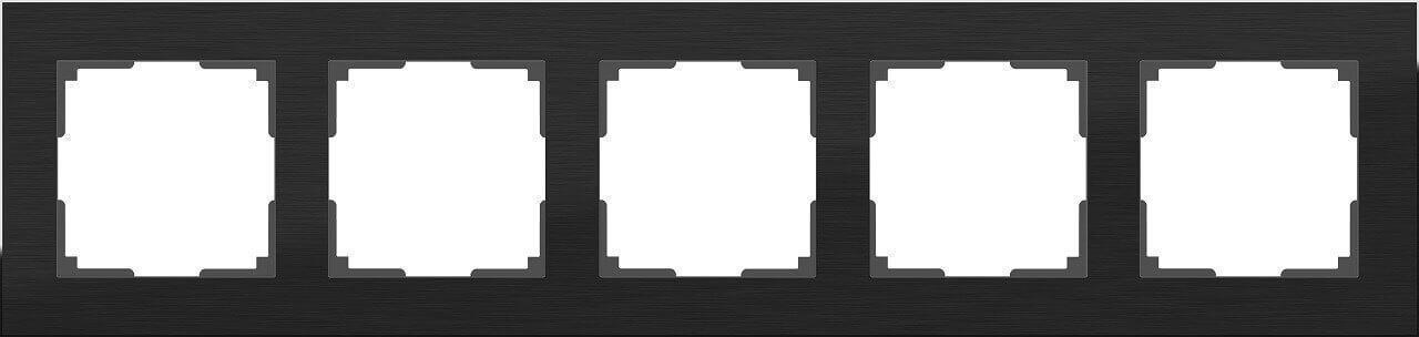 Рамка Werkel Aluminium на 5 постов алюминий черный WL11-Frame-05 4690389110481