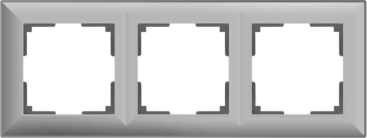 Рамка Werkel Fiore на 3 поста серебряный WL14-Frame-03 4690389109126