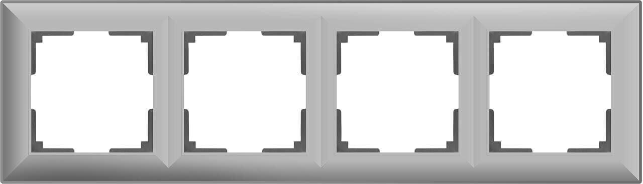Рамка Werkel Fiore на 4 поста серебряный WL14-Frame-04 4690389109164