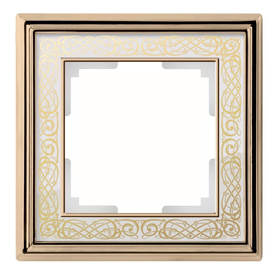 Рамка Werkel Palacio Gracia на 1 пост золото/белый WL77-Frame-01 4690389126017