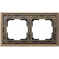 Рамка Werkel Palacio Gracia на 2 поста золото/черный WL77-Frame-02 4690389126055