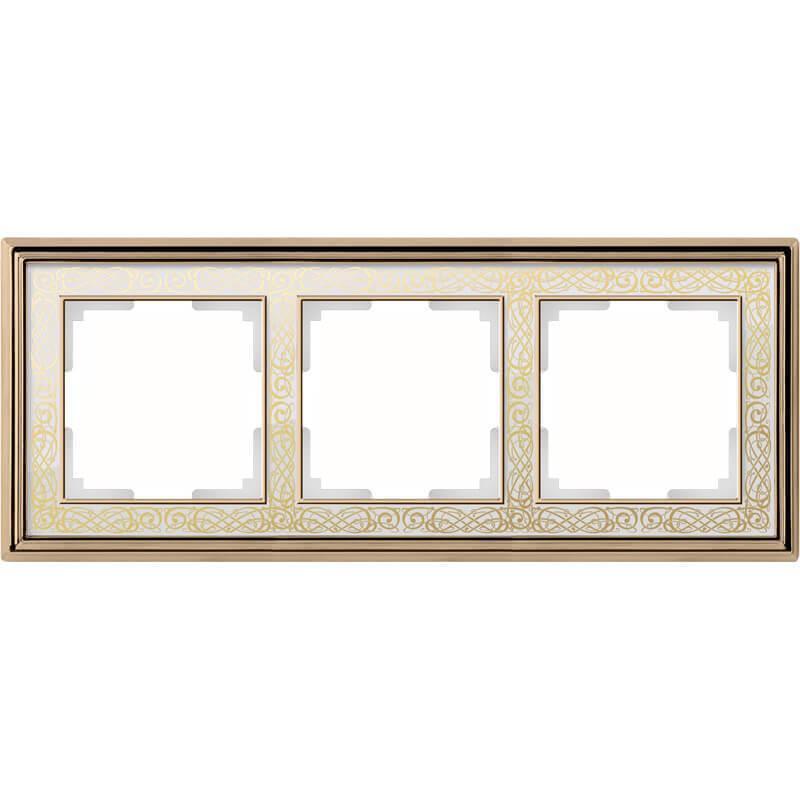 Рамка Werkel Palacio Gracia на 3 поста золото/белый WL77-Frame-03 4690389126079