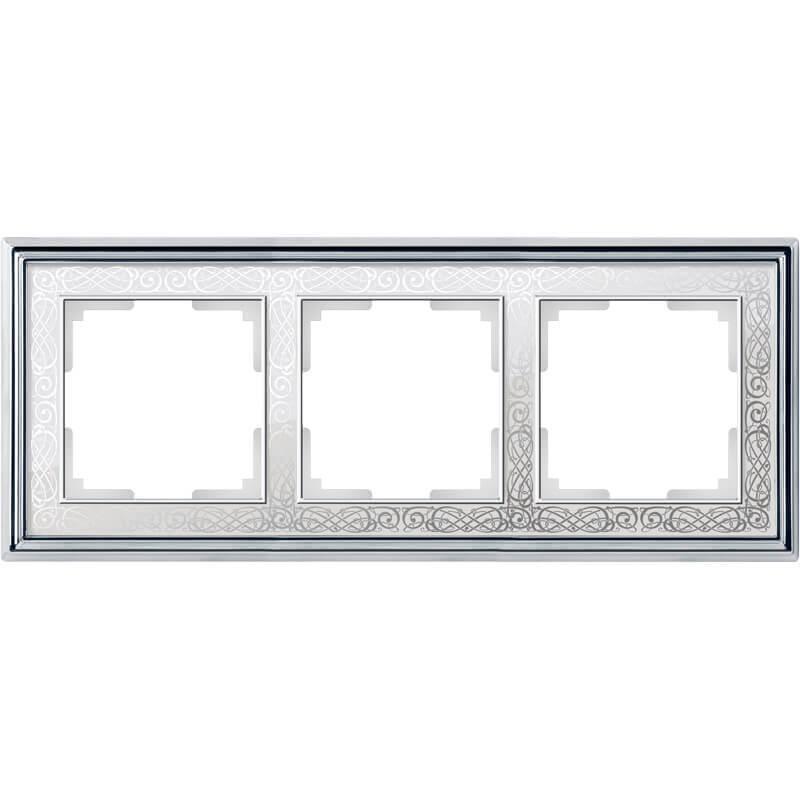 Рамка Werkel Palacio Gracia на 3 поста хром/белый WL77-Frame-03 4690389126093