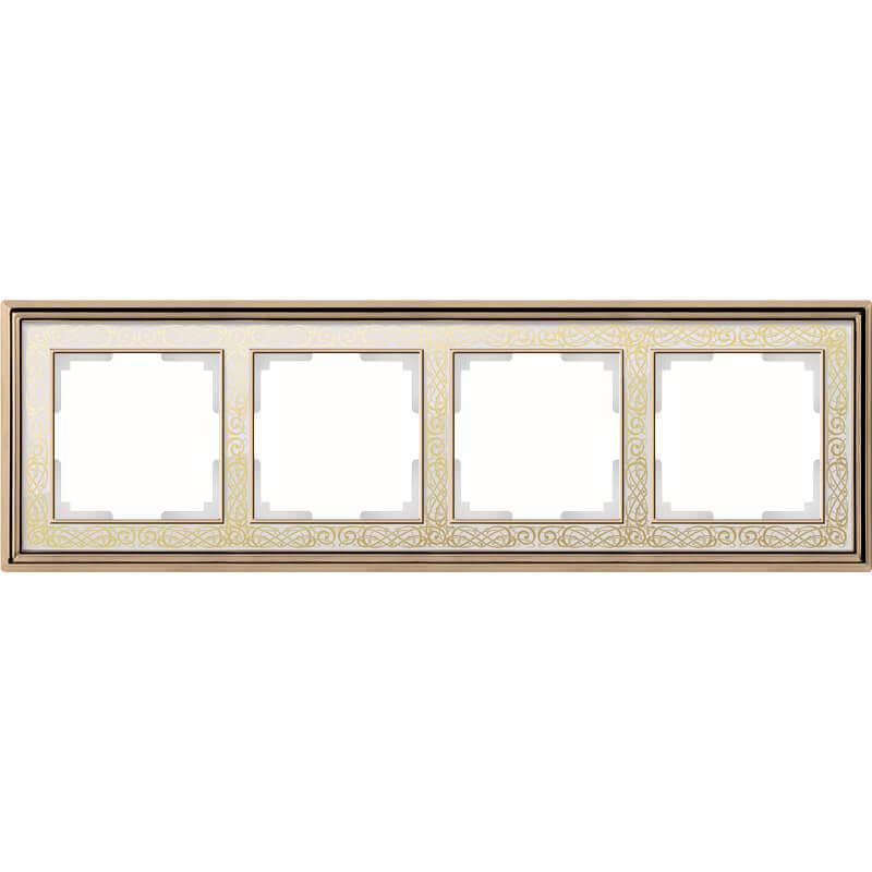 Рамка Werkel Palacio Gracia на 4 поста золото/белый WL77-Frame-04 4690389126109