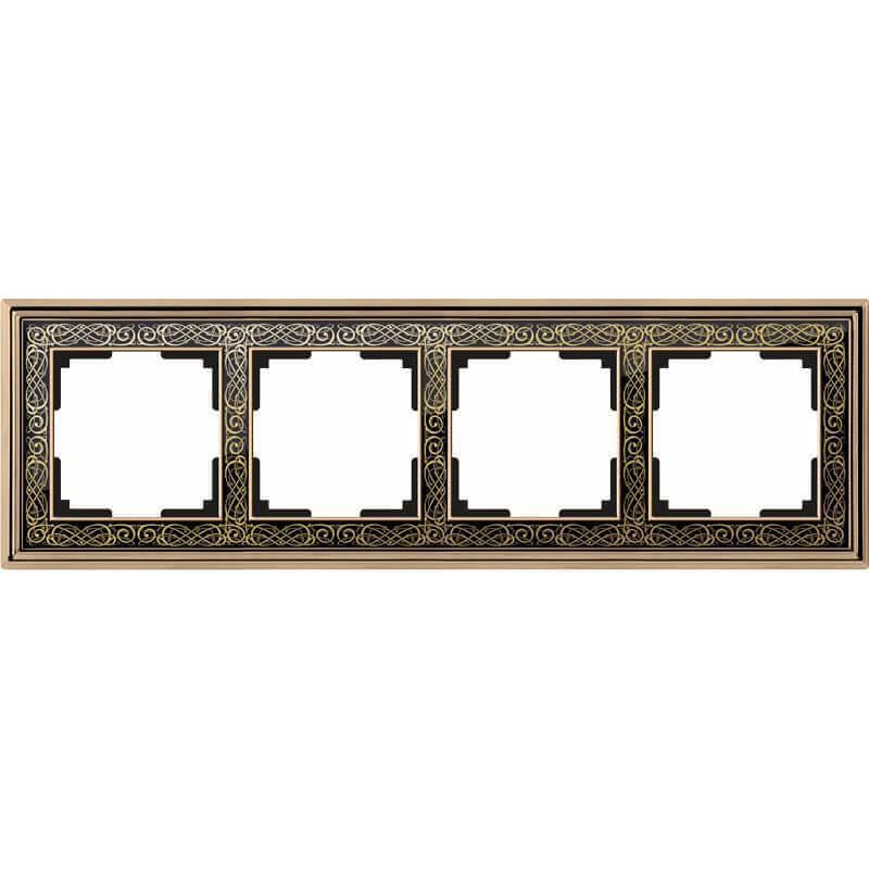 Рамка Werkel Palacio Gracia на 4 поста золото/черный WL77-Frame-04 4690389126116