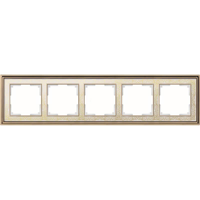 Рамка Werkel Palacio Gracia на 5 постов золото/белый WL77-Frame-05 4690389126130