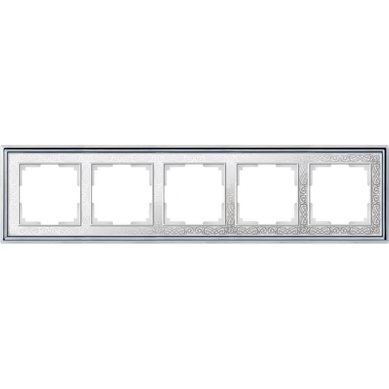 Рамка Werkel Palacio Gracia на 5 постов хром/белый WL77-Frame-05 4690389126154