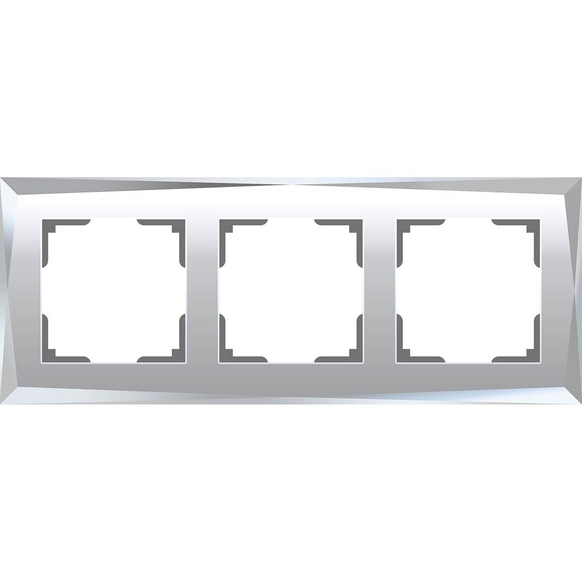 Рамка Werkel Diamant на 3 поста зеркальный WL08-Frame-03 4690389143830