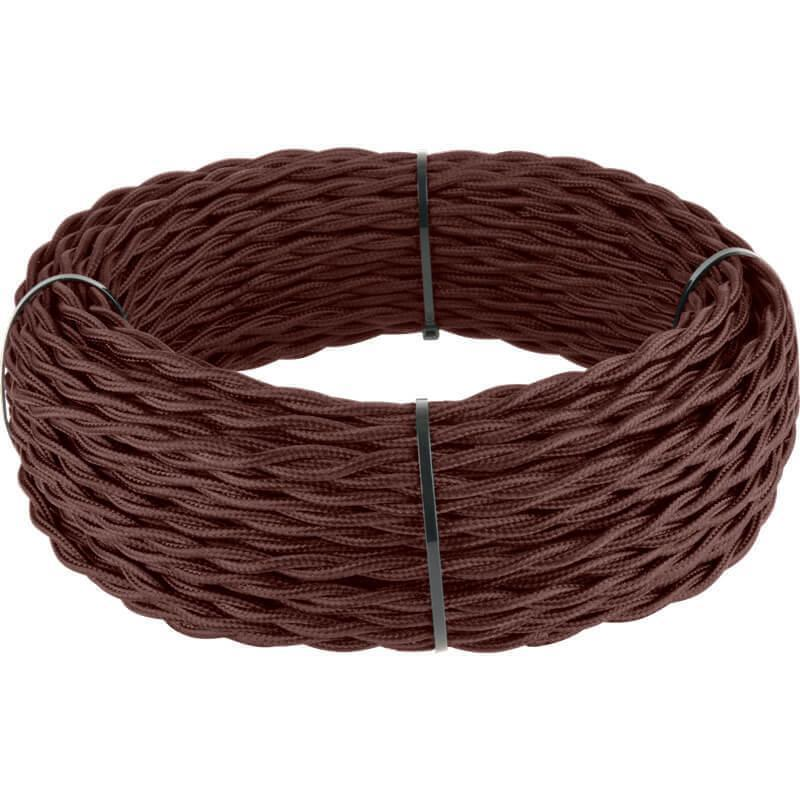 Ретро кабель Werkel витой двухжильный 2,5 мм итальянский орех 4690389131080