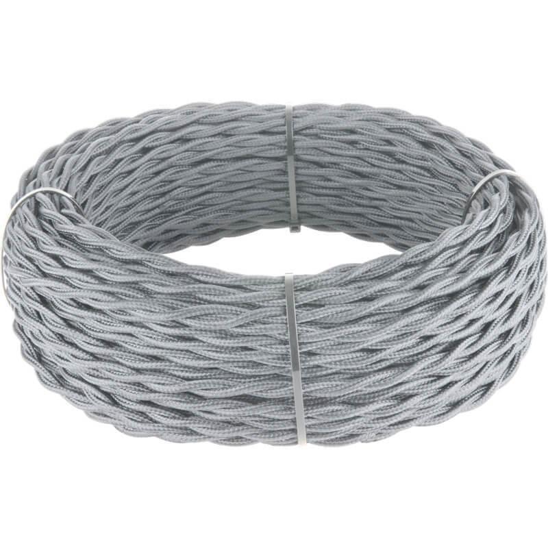 Ретро кабель Werkel витой двухжильный 2,5 мм серый 4690389131110