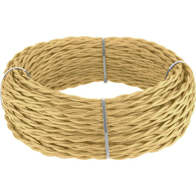 Ретро кабель Werkel витой трехжильный 2,5 мм золотой песок 4690389131172