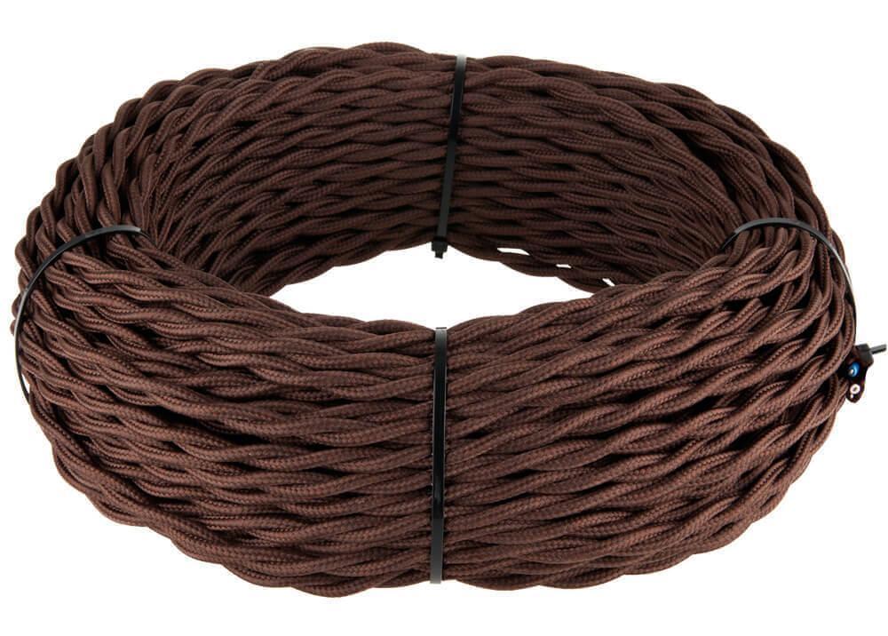 Ретро кабель Werkel витой трехжильный 2,5 мм коричневый 4690389116827