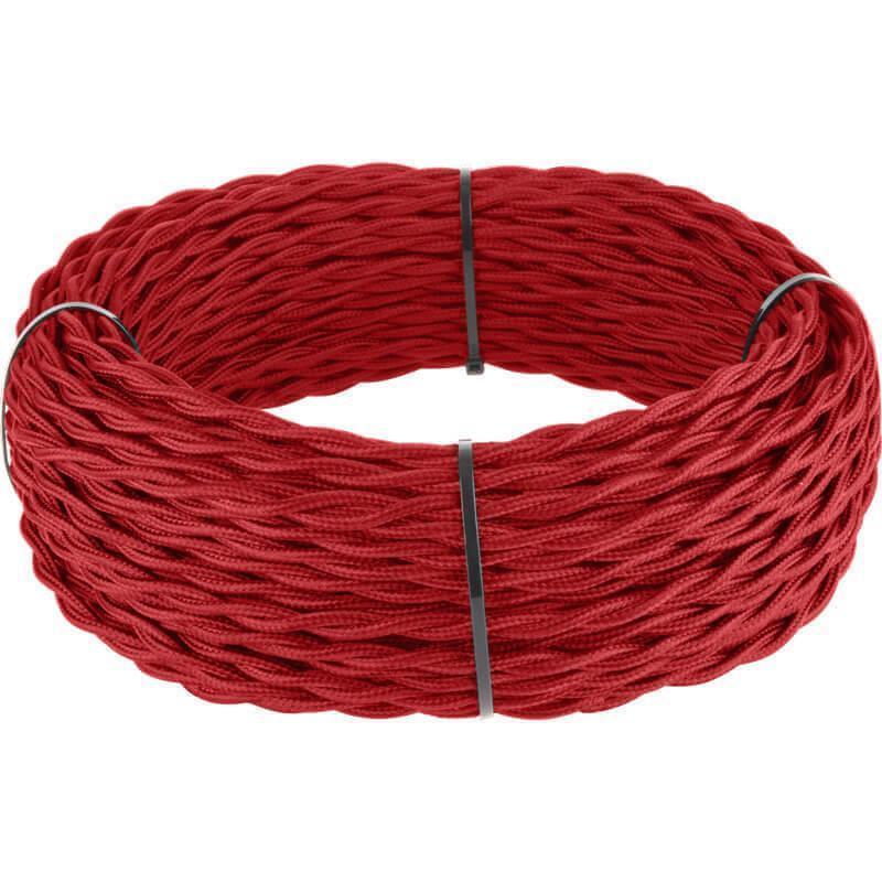 Ретро кабель Werkel витой трехжильный 2,5 мм красный 4690389131196