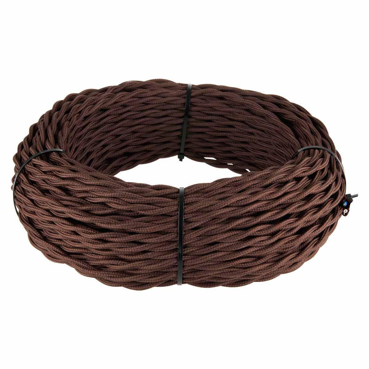 Ретро кабель Werkel витой двухжильный 1,5 мм коричневый 4690389136962