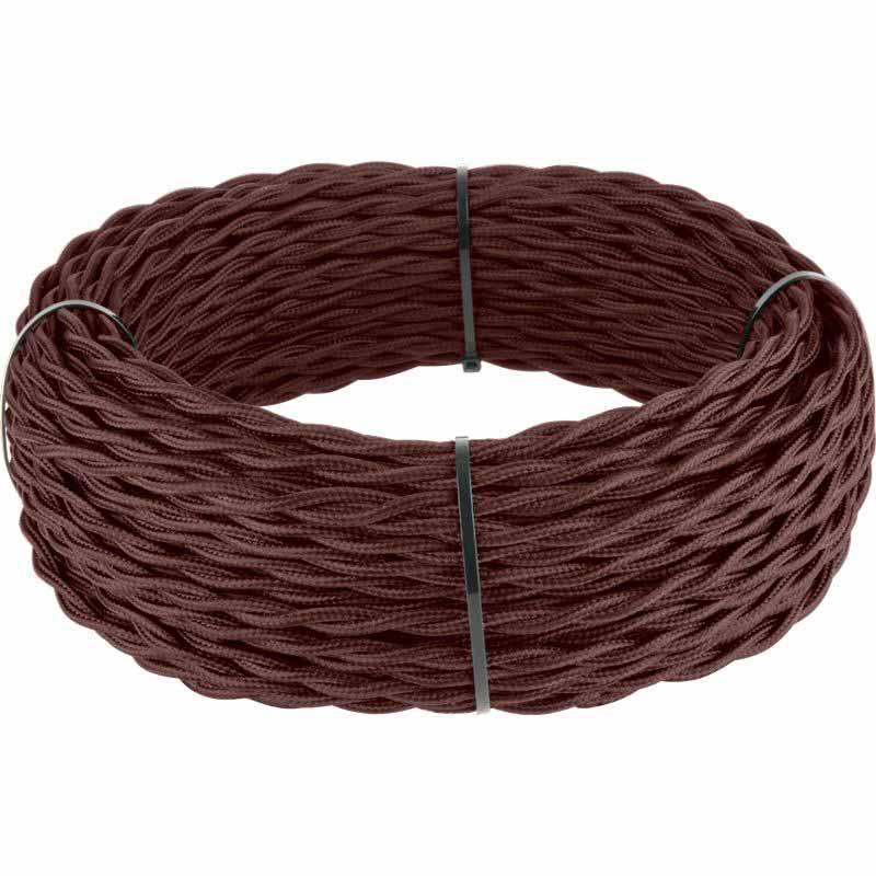 Ретро кабель Werkel витой двухжильный 2,5 мм итальянский орех 4690389153037