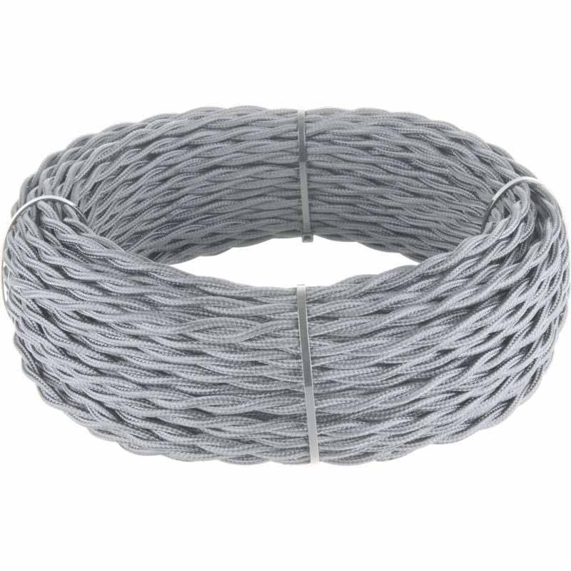 Ретро кабель Werkel витой двухжильный 2,5 мм серый 4690389153068