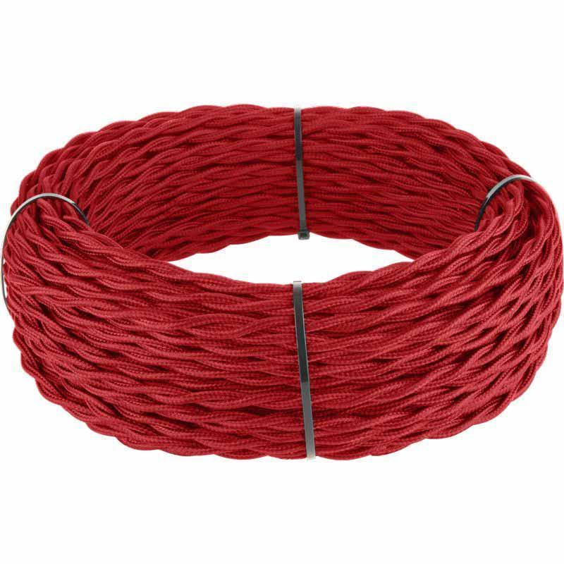 Ретро кабель Werkel витой трехжильный 1,5 мм красный 4690389153099