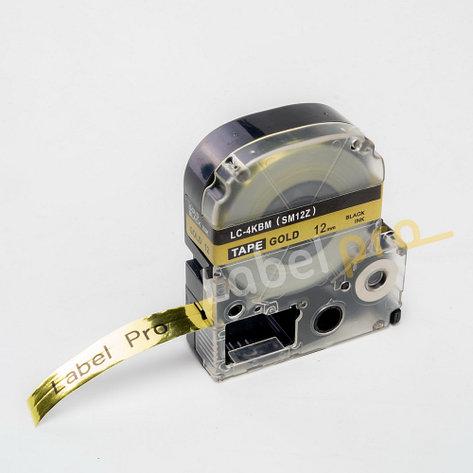Картридж LC-4KBM  для Epson LabelWorks LW-300, LW-400 (лента 12mmx8m) ,черный на золотом, фото 2