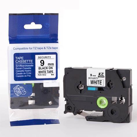 Картридж для Brother TZE-SE2, 9 мм, черный на белом, функция контроля вскрытия, фото 2