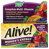 Nature's Way, Alive! Комплекс мультивитаминов и мультиминералов для пополнения запаса энергии женщин, 50 таб