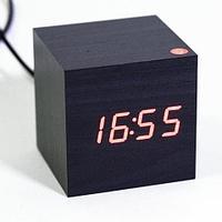 Часы электронные «деревянные» с термометром LED Wooden CUBE (Черный с красной подсветкой)