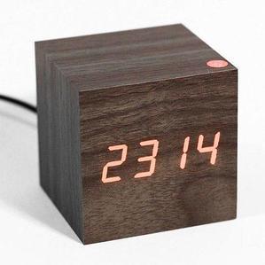 Часы электронные «деревянные» с термометром LED Wooden CUBE (Коричневый с красной подсветкой)
