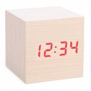 Часы электронные «деревянные» с термометром LED Wooden CUBE (Бежевый с красной подсветкой)