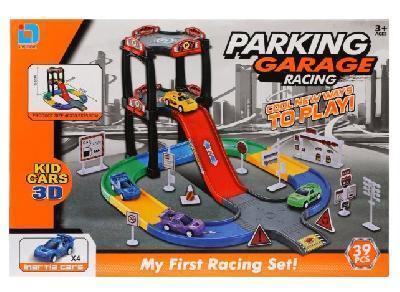 Парковка 3 уровня, 36 деталей, 4 машины инерционные