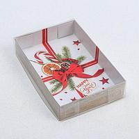 Коробка для макарун «Новогодний бант», 17 × 12 × 3 см