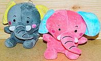 Слоник 16см однотонный (серый,розовый,голубой)