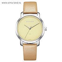 Часы наручные женские Gepard, жёлтый циферблат, бежевый ремешок, 1252A1L3-15