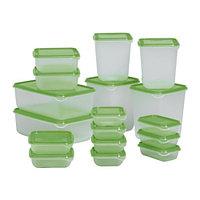 Контейнеров набор ПРУТА 17 шт. прозрачный зеленый ИКЕА, IKEA, фото 1