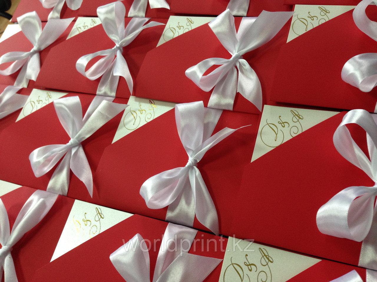 Пригласительные в виде конверта с вкладышем, бархатные