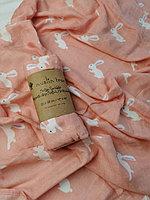Муслиновая пелёнка 70% бамбук, 30% хлопок Розовый кролик