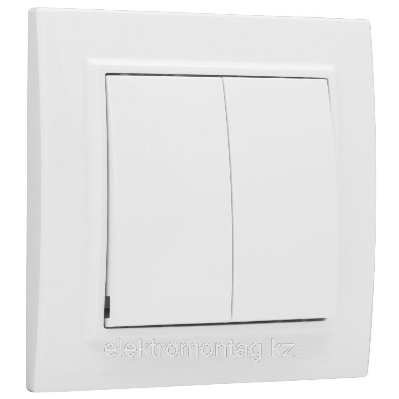 Выключатель Минск  2-клавишный СП,10А, белый EKF Basic