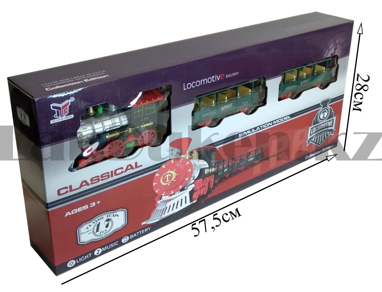 Игрушечный набор железная дорога и поезд со свето-звуковым сопровождением на 17 деталей Locomotive RailWay - фото 2
