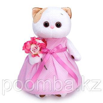 """Мягкая игрушка """"Кошечка Ли-Ли в розовом платье с букетом"""""""