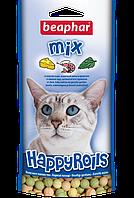 Beaphar Happy rolls mix,витаминное лакомство с сыром и креветками + мята,44 гр.