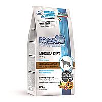 Forza10 Diet Medium Low Grain Cavallo,низкозерновой корм для собак средних пород с кониной и горохом,уп.1,5