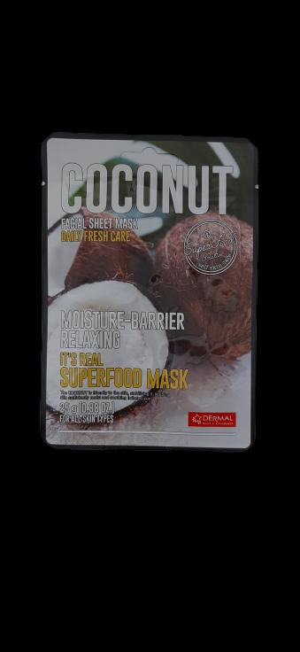 Dermal Питательная маска для лица на основе экстракта кокосового ореха It's Real Superfood Coconut Facial Mask