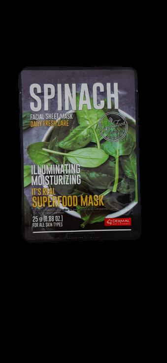 Dermal Питательная маска для лица на основе экстракта шпината It's Real Superfood Spinach Facial Mask