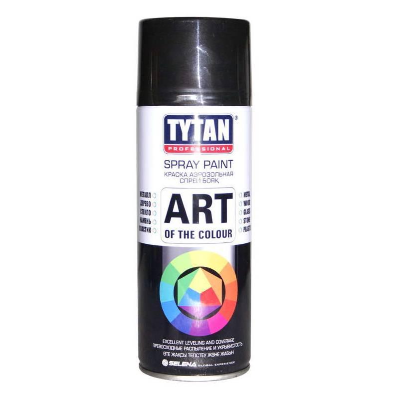 TYTAN Краска аэрозольная, черная глянцевая, 400 мл