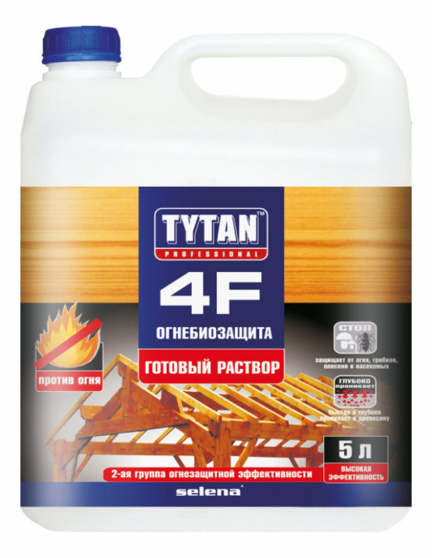 TYTAN 4F Огнебиозащита (готовый раствор), красный 5 л.