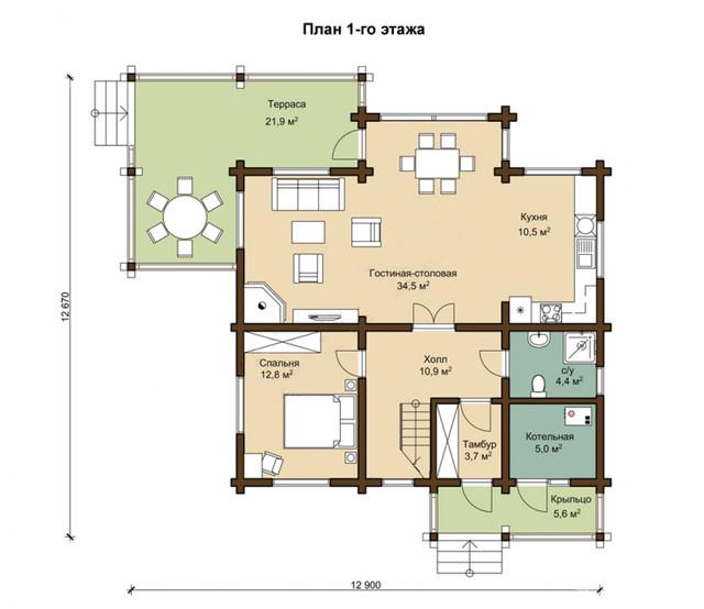 Проект двухэтажного дома из профилированного бруса, план двухэтажного дома и строительство под ключ, проектирование и строительство деревянных домов.