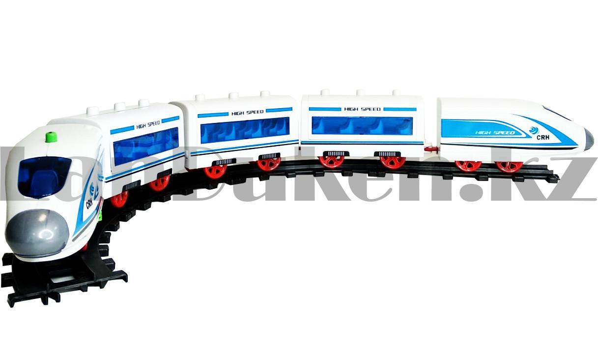Игрушечный набор железная дорога и поезд со свето-звуковым сопровождением на 21 деталей Locomotive RailWay - фото 3