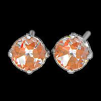 """7592-0163 Серьги-иглы System75 с кубиком циркония 5 мм """"Neon"""" с оранжевым отливом"""